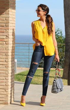 Cool outfits, casual outfits, yellow outfits, fashion love fashion, f Mode Outfits, Jean Outfits, Casual Outfits, Summer Outfits, Yellow Outfits, Fashion 2017, Look Fashion, Fashion Outfits, Womens Fashion