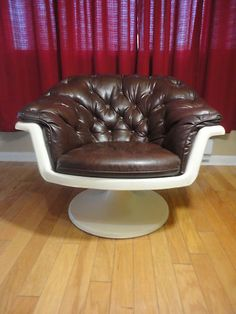 Vintage Knoll Saarinen Style Tulip Arm Chair Brown Vinyl Seat Mid Century Modern | eBay