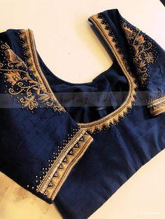 Hand Work Blouse Design, Simple Blouse Designs, Bridal Blouse Designs, Saree Blouse Designs, Blouse Styles, Black Saree Blouse, Green Blouse, Designer Blouse Patterns, Elegant Saree