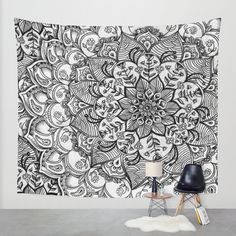 Shades of Grey - mono floral doodle Wall Tapestry by Micklyn   Society6