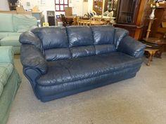 Blue Leather 3 Seater Sofa GC --------------- £75 (PC036)