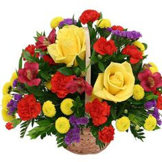 This lovely flower basket includes 25 Yellow Roses along with Red Roses & Red Carnations with lots of Greens. - See more at: http://www.bookflowers.com/p/daily-delight#sthash.KVXjoIaU.dpuf