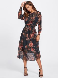 Floral Mesh Dress With Liner Cami -SheIn(Sheinside)
