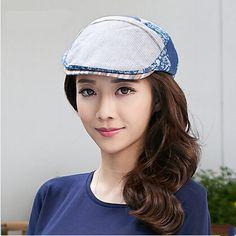 Blue floral flat cap for women stripe adjustable caps for spring