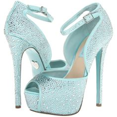 Blue by Betsey Johnson Kiss ($105) ❤ liked on Polyvore featuring shoes, pumps, heels, sapatos, zapatos, high heels, blue fabric, ankle strap pumps, rhinestone heel pumps and high heel platform pumps