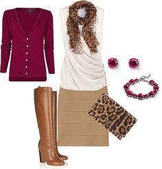"""Lovely Leopard w/ Berry"" by christine-parrish on Polyvore"