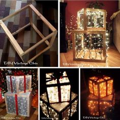 DIY Lighted Outdoor Christmas Presents! Outdoor Christmas Presents, Christmas Present Decoration, Christmas Present Boxes, Diy Christmas Lights, Decorating With Christmas Lights, Noel Christmas, Outdoor Christmas Decorations, Xmas Lights, Ball Lights