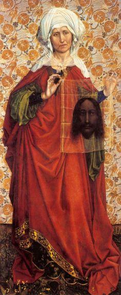 Robert Campin  St Veronica c. 1410   Städelsches Kunstinstitut, Frankfurt  Love the detail on her hem.