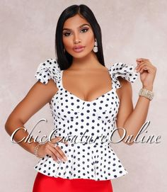 Chic Couture Online - Calissa White Navy-Blue Polka Dots Peplum Top,  (http://www.chiccoutureonline.com/calissa-white-navy-blue-polka-dots-peplum-top/)