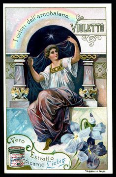 "cigcardpix Liebig S662 - Violet Liebig's Beef Extract ""Colours of the Rainbow"" Italian edition, 1901."