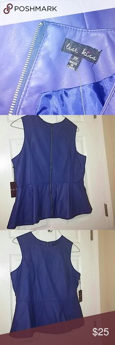 Last Kiss faux leather peplum top Never worn. New with tag. Very fashion forward. last kiss Tops Blouses