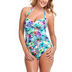 1f6b949aa4416 Catalina SZ Large Tropical Halter Twist One-piece Swimsuit Tropical Bathing  Suit