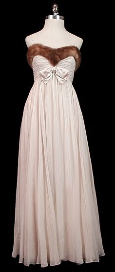 Evening Dress 1951, Made of chiffon and fur....love it without the fur....I don't wear animals