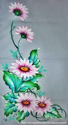 Ramo de flores , pintura em tecido Gérberas