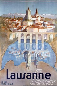Lausanne vintage travel poster, by Marguerite Steinlen ca. 1940