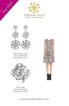 Aretes triples y Anillo Logos en plata .925 brillante de la Colección Logos by Jordana Tello