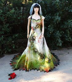 Couture Zombie Bride gown with Blood Splatters, and Graveyard Dirt by GraveyardShift13