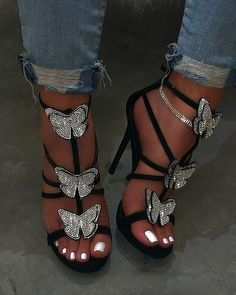 Yara Heel - Black - Rhinestone butterfly detail Suede material 5 inch heel True to size Heeled Espadrilles, Espadrille Shoes, Shoes Sandals, Shoes Sneakers, Hot High Heels, Black Heels, Pretty Shoes, Beautiful Shoes, Butterfly Heels