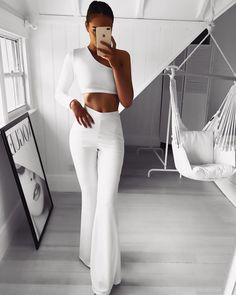 Women Plain Palazzo Wide Leg High Waist Solid Casual Flared Trousers – All Things Everyone Shop White Outfits, Classy Outfits, Trendy Outfits, White Outfit Party, Moda Outfits, Classy Dress, Fancy Dress, Pink Dress, Fashion Pants