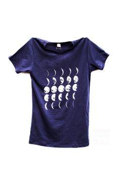 Womens Moon Phases Calendar Tshirt -  Midnight Blue Moon Tee - Ladies Moon Chart Shirt - Science Tee - Geek Tee - Small, Medium, Large, XL