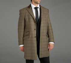 82cf2fb305c Paul Costelloe Sage Brown Check Coat with a brown velvet collar