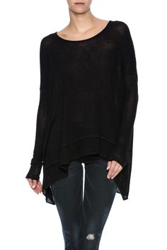 Soft and oversized marled knit top with a drapey open twist back featuring a thin strap across the top. Semi-sheer.  Open-Back Hacci Top by Free People. Clothing - Tops - Long Sleeve Clothing - Tops - Casual New Hampshire