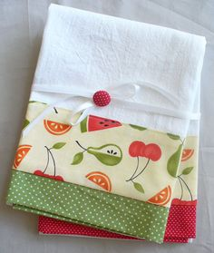 Kitchen towels with watermelon cherries by SeamlessExpressions, $26.00