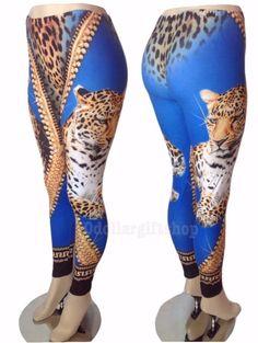New Women's Sexy Animal Print Blue Gold Bling Leopard Tiger 3D Leggings Pants   #LEGGINGS