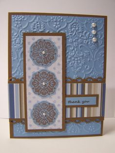 Included is one handmade, hand-stamped Thank You greeting card, using products from Stampin' Up and other companies. It is a blue and brown
