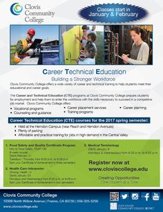 Register now for Career and Technical Education (CTE) programs at Clovis Community College! Learn more at http://www.cloviscollege.edu/index.aspx?page=302&recordid=250&returnURL=%2findex.aspx%3fpage%3d1
