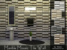 The Sims Resource: Marble Mosaic Tile Wall by Rirann • Sims 4 Downloads