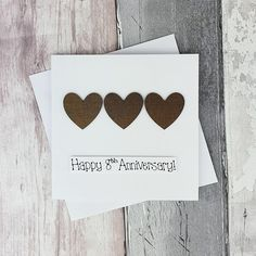8th anniversary card Bronze wedding anniversary card | Etsy 8th Wedding Anniversary Gift, Happy Anniversary, Bronze Wedding, Romantic Cards, Thanks Card, Congratulations Card, Heart Cards, Valentine Day Cards, Greeting Cards Handmade