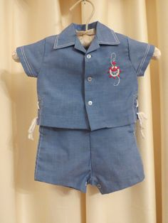Vintage 50s 60s Baby Sailor Suit Jacket and Overalls 2 Piece