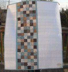 simple patchwork pieced quilt back.... Thinking of using this idea.