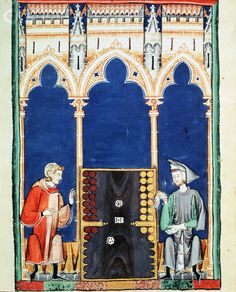 Two Nobles Playing Tric-Trac From Alphonse Le Sage's Book of Games from 1282