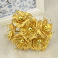 Cheap flower bling, Buy Quality flower directly from China flower organ Suppliers: 12 pcs Gold Bridal Flower Mini Silk Artificial Rose Flowers Bouquet Scrapbooking For Wedding Decoration Best Man Boutonniere