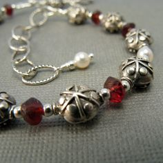 Blood Red Garnet White Freshwater Pearls by CountenanceJewelry, $47.00