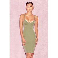 'Mallory'  Khaki Underwired Bustier Dress