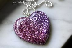 Resin Necklace, Soft Rose to Greyed Lilac Lavender Resin Glitter Heart Pendant,  Unique Resin Jewelry Hand Cast by isewcute #isewcute on Etsy