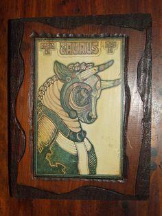 Vintage Taurus the Bull Zodiac Lithograph Print Wood Wall Art Decor Plaque by bohemiangypsychicago on Etsy Vintage Wall Art, Vintage Walls, Vintage 70s, Wood Wall Art Decor, Wall Plaques, Dark Wood, Wood Print, Taurus, Zodiac