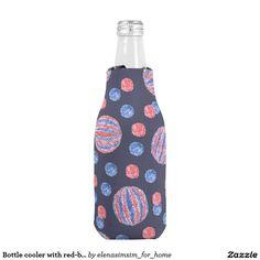 Bottle cooler with red-blue balls
