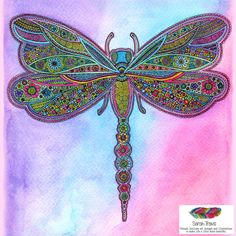 Jewelled Dragonfly Doodle Print by SarahTravisArt on Etsy