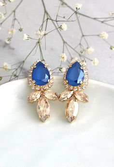 Blue Earrings Blue Royal Earrings Bridal Blue Royal Click here to shop >> https://etsy.me/2gYMNax