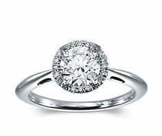 Halo Diamond Engagement Ring in 14k White Gold (1/5 ct. tw.) $890 blue nile- setting only