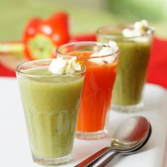 Easy and simple party soups in three flavors, broccoli, red Pepper and asparagus..
