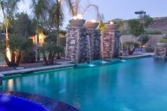 Fire and water collide in this Peoria courtyard water feature. Our clients enjoy the best of both worlds!
