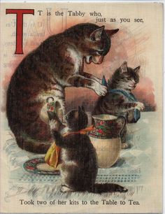 "Cats in Art and Ilustration: Letter ""T"" (from ""FULL OF FUN ABC"") ""T is for Tabby, who just as you see, Took two of her kits to table to tea."""