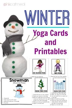 Winter Yoga Cards and Printables!  Pose like an ice skater or snowman!