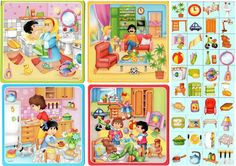 Cada objeto en la parte de la casa que corresponda Oral Motor Activities, Language Activities, Infant Activities, Activities For Kids, Elementary Spanish, Teaching Spanish, Teaching English, Speech Language Therapy, Speech And Language