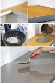 Utilizzando uno speciale pannello di polistirene KERDI-BOARD e malta cementizia è possibile realizzare il piano cucina in cemento
